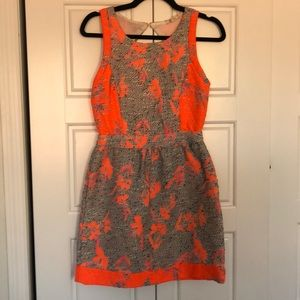 Ella Moss Grey and Neon Fit and Flare Dress XS
